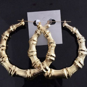 Round Bamboo Big Hoops Pierced Post Stud Gold Tone
